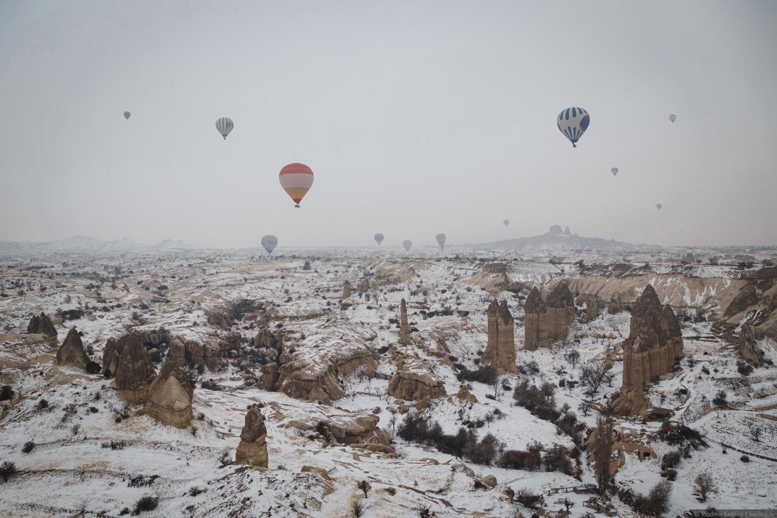 Каппадокия зимой. Полёт на воздушном шаре