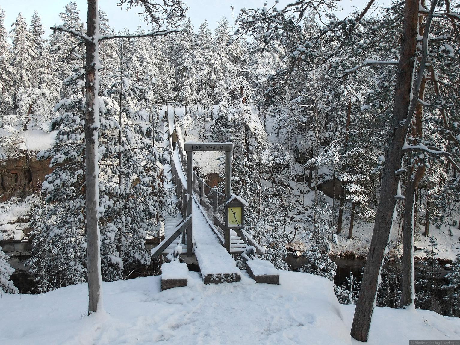 Висячий мост над проливом Lapinsalmi